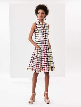 Oscar de la Renta Jumbo Houndstooth Stretch-Silk Georgette Dress