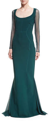Chiara Boni Babs Sheer Long-Sleeve Mermaid Gown