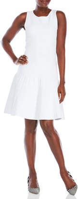 Pink Tartan White Ribbed Fit & Flare Dress