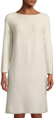 Lafayette 148 New York Cashmere-Silk Ribbed-Panel Shimmer Tunic