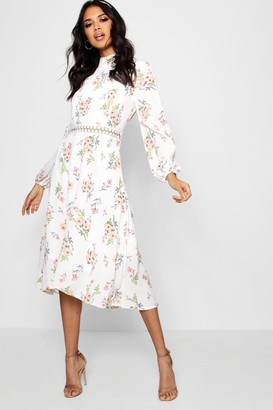 boohoo Boutique Floral Long Sleeve Skater Dress