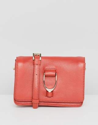 Paul Costelloe real leather saddle hardware mini cross body bag