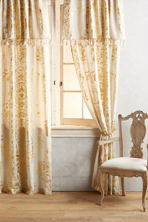 Anthropologie Anthropologie Gold Foil Curtain