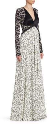 Roberto Cavalli Leopard Print Panelled Gown