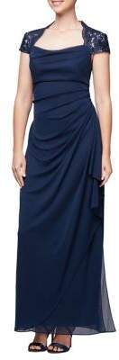 Alex Evenings Ruched Short-Sleeve Evening Gown