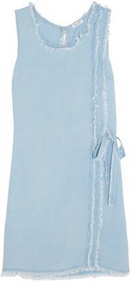 Splendid - Frayed Washed-crepe De Chine Mini Dress - Sky blue $225 thestylecure.com