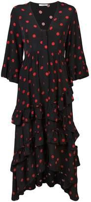 Ganni polka dot maxi dress