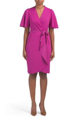 Short Sleeve Faux Wrap Dress