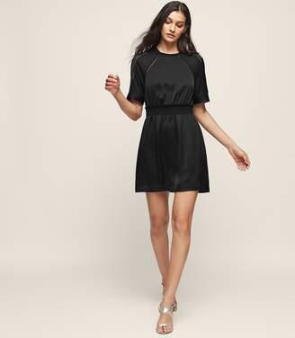 Reiss Myla - Short-sleeved Mini Dress in Black
