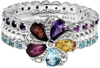 Simply Stacks Sterling Multi-Gemstone Ring Set