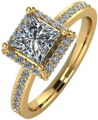 Moissanite 9ct Gold 1.55 Carat Square Solitaire Ring
