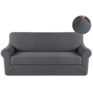 Turquoize Grey Sofa Slipcover 3 Seater Couch Cover Stretch Fabric in Polyester Spandex Elastic Bottom Slipcover 2-Piece(Sofa