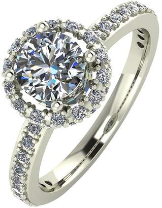 Moissanite 9ct Gold 1.25 Carat Round Brilliant Cut Ring With Stone Set Shoulders