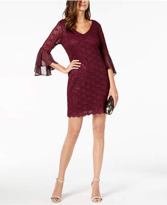Connected Petite Sequined Lace Bell-Sleeve Dress