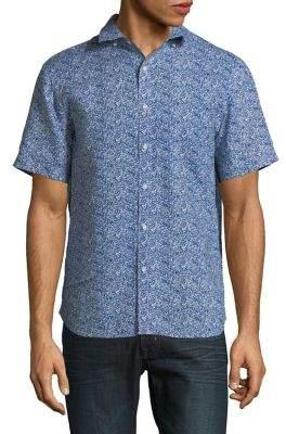 Black & Brown Black Brown Printed Linen Short-Sleeve Shirt