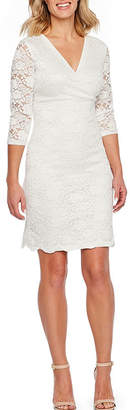 Liz Claiborne 3/4 Sleeve Floral Lace Sheath Dress