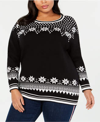Tommy Hilfiger Plus Size Cotton Snowflake-Pattern Sweater