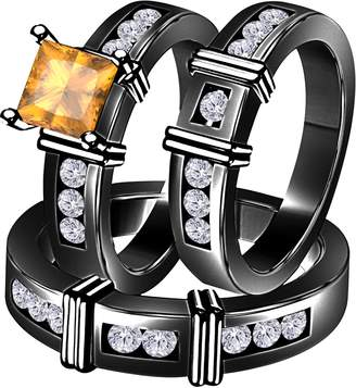 Express Star Retail 2.10 Carat (Ctw) Synthetic Yellow Citrine Princess Cut & Round CZ Diamond 14k Black Gold Over Engagement His & Her Wedding Engagement Trio Ring Set In Shipping