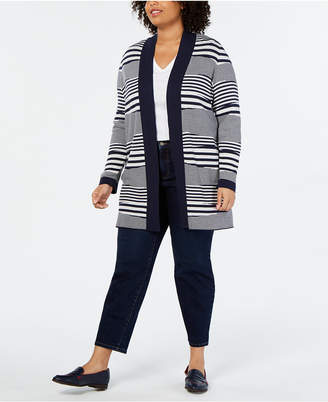 Charter Club Plus Size Striped Open-Front Cardigan