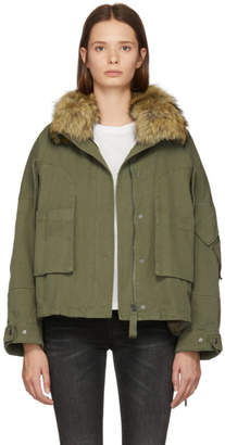 Green Cotton Yves Salomon - Army Fur-Lined Down Parka
