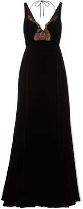 Antonio Berardi Lace-paneled Velvet Gown - Black