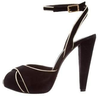 Giambattista Valli Suede Crossover Sandals