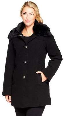Dennis Basso Faux Wool Turnkey Coat w/ Removable Fur Collar