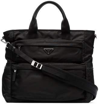 Prada black multi pocket tote bag
