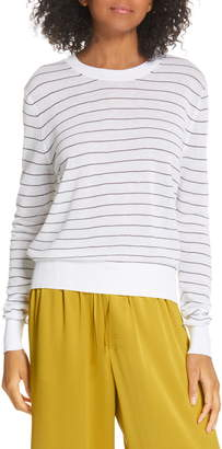 Vince Stripe Long Sleeve Texture Knit Top