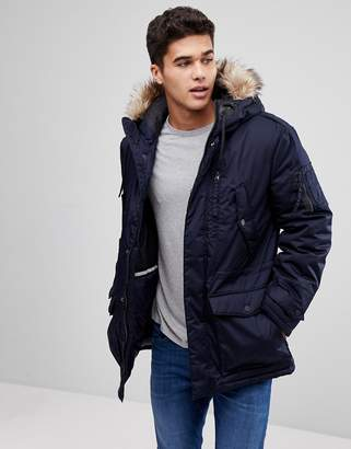 Celio Parka With Faux Fur Hood In Navy