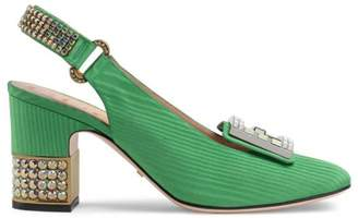 Gucci Moiré mid-heel pump with crystal G