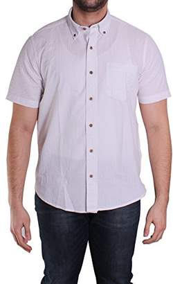 Tailor Vintage Men's Short Sleeve Cotton Linen Seersucker Shirt