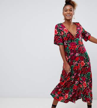 470d0b7bd63 Monki short sleeve button through flower print midi dress