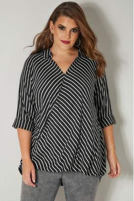 Next Womens Yours Wrap Front Stripe Blouse