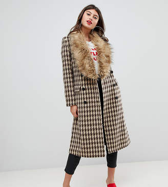 2a2cf3b0eb8 Unique21 UNIQUE21 oversized car coat in yellow check with faux fur collar  and cuffs