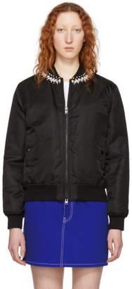 Givenchy Black Pearl Neck Bomber Jacket