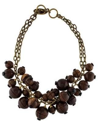 Lela Rose Wooden Bauble Bib Necklace