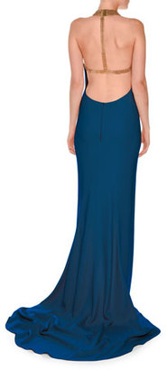 Stella McCartney Chain-Neck Sleeveless T-Back Gown, Petrol Blue $3,845 thestylecure.com