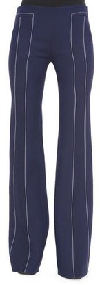Derek Lam Contrast-Seam Flare Trousers, Navy/White $1,390 thestylecure.com