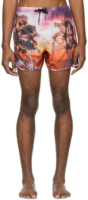 Neil Barrett Pink Palm Swim Shorts