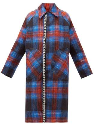 Charles Jeffrey Loverboy Chain Trim Single Breasted Tartan Wool Coat - Womens - Navy Multi