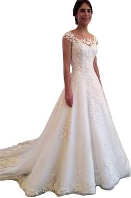 ce8d4942fde CL Bridal Women s Lace Appliques Crewneck Sweep Train Wedding Dress Elegant Bride  Gown US