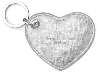 Aspinal of London Heart Key Ring In Silver Saffiano