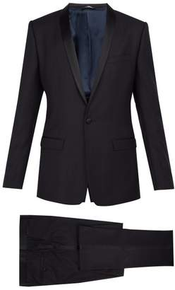 Dolce & Gabbana Gold Fit Satin Striped Wool Blend Suit - Mens - Navy
