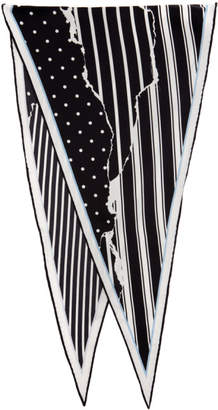 Haider Ackermann Black and White Striped Amber Diamond Scarf