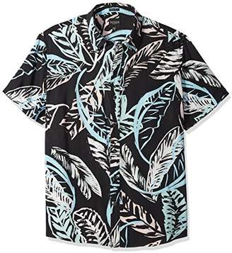 GUESS Men's Short Sleeve Pastel Palm Print Shirt