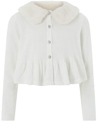 Monsoon Lianna Fur Collar Cardigan