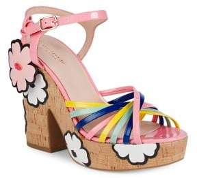 Kate Spade Gerry Floral Leather Platform Sandals