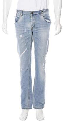 Just Cavalli Distressed Straight Leg Jeans