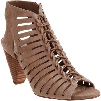 Vince Camuto Nubuck Leather Peep Toe Sandals - Evalan